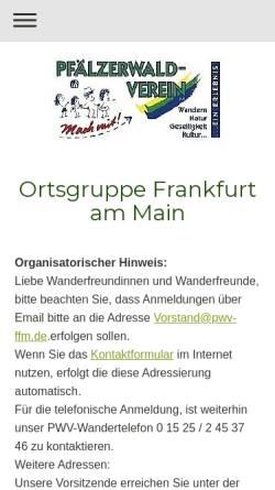 Vorschau der mobilen Webseite www.pwv-ffm.de, Pfälzerwald-Verein Ortsgruppe Frankfurt