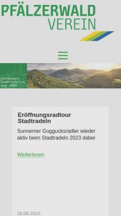 Vorschau der mobilen Webseite www.pwv-sondernheim.de, Pfälzerwald-Verein Ortsgruppe Sondernheim