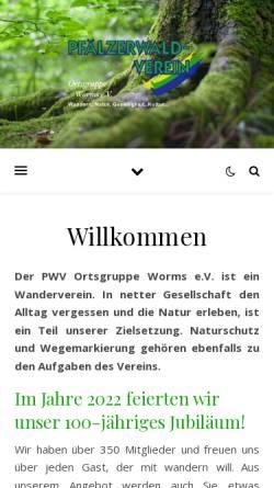 Vorschau der mobilen Webseite www.pwv-worms.de, Pfälzerwald-Verein Ortsgruppe Worms