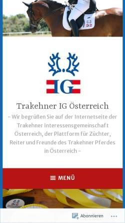 Vorschau der mobilen Webseite www.trakehner-ig.at, Trakehner-IG