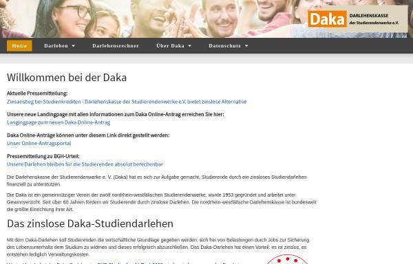 Vorschau von www.daka-nrw.de, Darlehenskasse der Studentenwerke im Land Nordrhein-Westfalen e. V. (DAKA)