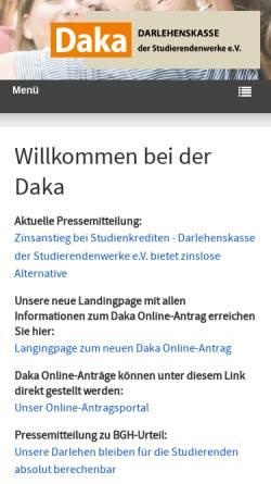 Vorschau der mobilen Webseite www.daka-nrw.de, Darlehenskasse der Studentenwerke im Land Nordrhein-Westfalen e. V. (DAKA)
