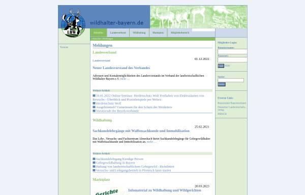Vorschau von www.wildhalter-bayern.de, Landesverband Bayerischer landwirtschaftlicher Wildhalter e.V.