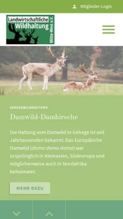 Vorschau der mobilen Webseite www.damwildfarming.de, Landesverband Damwild farming mitte-west