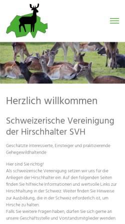 Vorschau der mobilen Webseite svh.caprovis.ch, Schweizerische Vereinigung der Hirschhalter