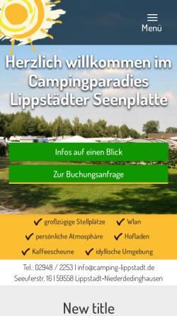 Vorschau der mobilen Webseite www.camping-lippstadt.de, Campingparadies Lippstädter Seenplatte