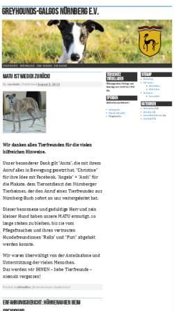 Vorschau der mobilen Webseite www.greyhound-galgo.de, Greyhounds-Galgos Nürnberg e.V.