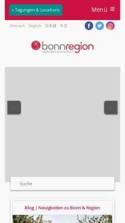 Vorschau der mobilen Webseite www.bonn-region.de, Bonn Region