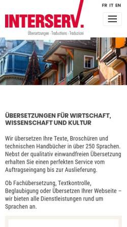 Vorschau der mobilen Webseite www.interserv.ch, Interserv AG