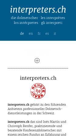 Vorschau der mobilen Webseite www.interpreters.ch, Interpreters