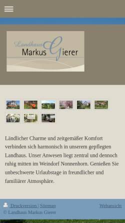 Vorschau der mobilen Webseite www.landhaus-markus-gierer.de, Ferienwohnungen und Gästezimmer Familie Markus Gierer