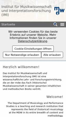 Vorschau der mobilen Webseite www.mdw.ac.at, Institut für Analyse, Theorie und Geschichte der Musik