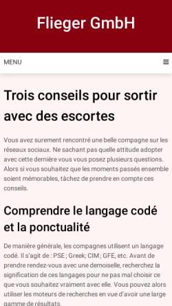 Vorschau der mobilen Webseite www.flieger-gmbh.de, Flieger GmbH