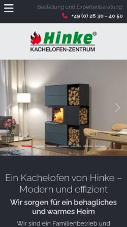 Vorschau der mobilen Webseite www.kachelofenzentrum-hinke.de, Kachelofen-Zentrum Hinke GmbH