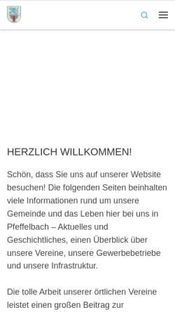 Vorschau der mobilen Webseite pfeffelbach.de, Pfeffelbach