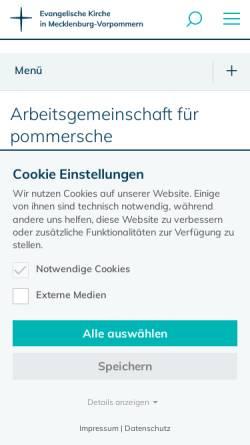 Vorschau der mobilen Webseite www.pommersche-kirchengeschichte-ag.de, Arbeitsgemeinschaft für pommersche Kirchengeschichte e.V.