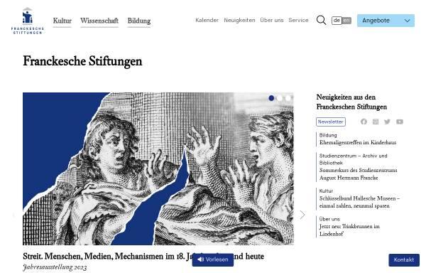 Vorschau von www.francke-halle.de, Franckesche Stiftungen zu Halle / Saale
