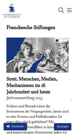 Vorschau der mobilen Webseite www.francke-halle.de, Franckesche Stiftungen zu Halle / Saale