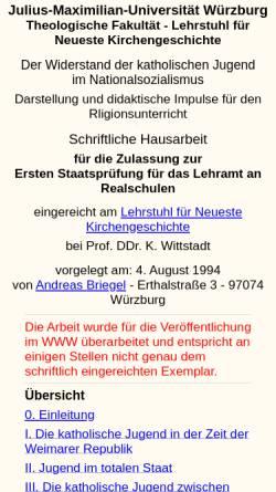 Vorschau der mobilen Webseite www.briegel-online.de, Katholische Jugend im Nationalsozialismus