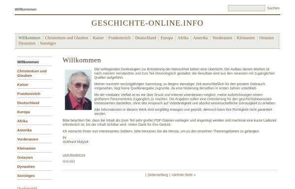 Vorschau von www.geschichte-online.info, Welt- und Kirchengeschichte auf geschichte-online.info