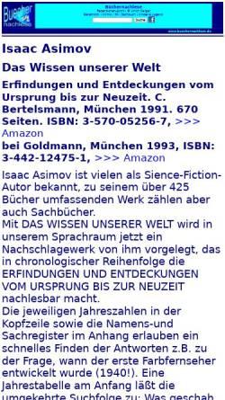Vorschau der mobilen Webseite buechernachlese.de, Isaac Asimov: Das Wissen unserer Welt