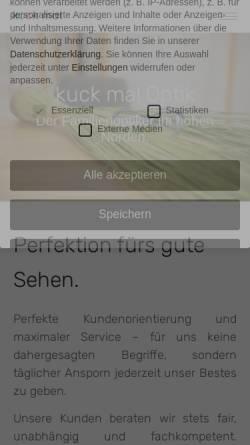 Vorschau der mobilen Webseite www.kuck-mal.de, kuck mal, Trave-Optik GmbH