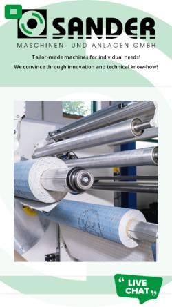 Vorschau der mobilen Webseite www.sandermaschinen.de, Sander GmbH
