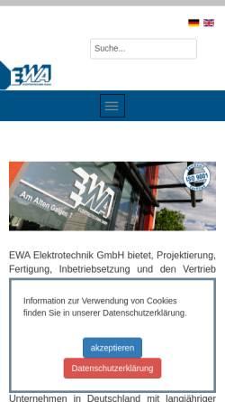 Vorschau der mobilen Webseite www.ewa.de, EWA - Elektrotechnik Wachenheim GmbH