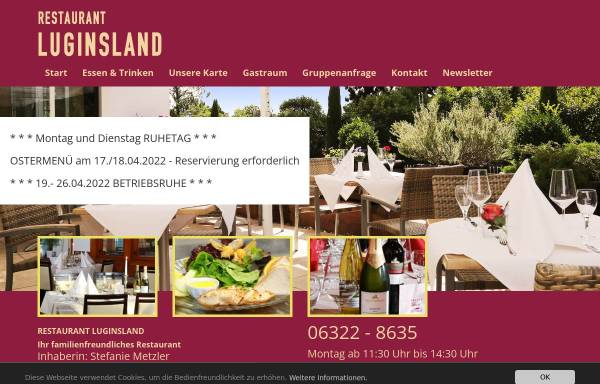 Vorschau von www.restaurant-luginsland.de, Restaurant Luginsland