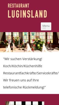 Vorschau der mobilen Webseite www.restaurant-luginsland.de, Restaurant Luginsland