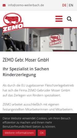 Vorschau der mobilen Webseite www.zemo-weilerbach.de, ZEMO Gebr. Moser GmbH