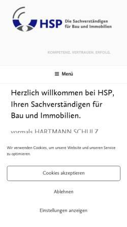 Vorschau der mobilen Webseite hartmann-schulz-partner.de, Sachverständiger Hartmann und Schulz, Gutachter bei Wertermittlung und Bauschaden