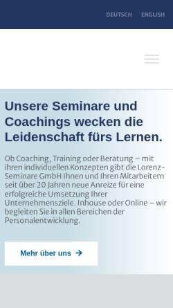 Vorschau der mobilen Webseite www.lorenz-seminare.de, Lorenz-Seminare Personality & Competence Training - Karl Heinz Lorenz
