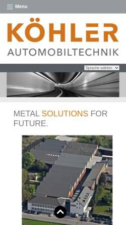 Vorschau der mobilen Webseite www.durakoehler.de, Dura Automotive Systems Koehler GmbH