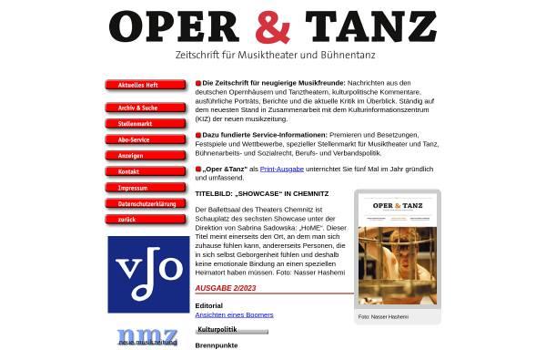 Vorschau von www.operundtanz.de, Oper & Tanz