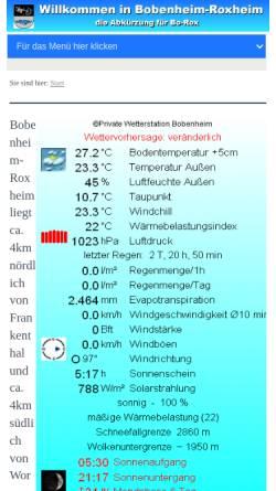 Vorschau der mobilen Webseite www.bo-rox.de, Wetter Bobenheim-Roxheim