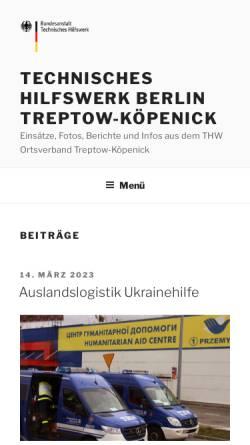 Vorschau der mobilen Webseite www.thw-treptow.de, THW Ortsverband Treptow-Köpenick