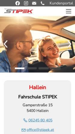 Vorschau der mobilen Webseite www.stipek.at, Fahrschule Stipek