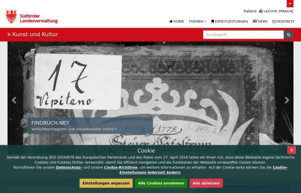 Vorschau von www.provinz.bz.it, SLA - Südtiroler Landesarchiv