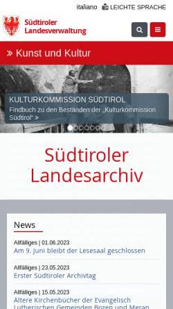 Vorschau der mobilen Webseite www.provinz.bz.it, SLA - Südtiroler Landesarchiv