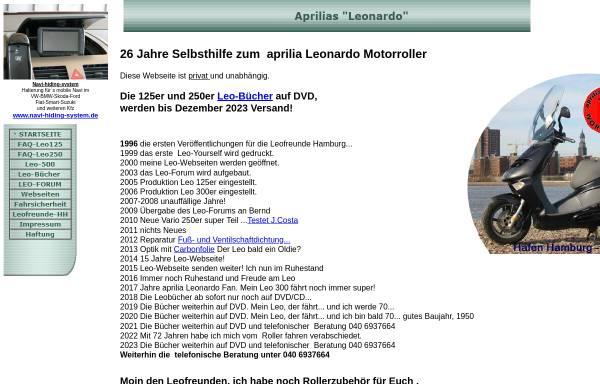 Vorschau von www.aprilia-leonardo.de, Selbsthilfeseiten zum Aprilia Leonardo