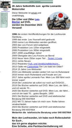 Vorschau der mobilen Webseite www.aprilia-leonardo.de, Selbsthilfeseiten zum Aprilia Leonardo