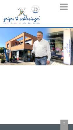 Vorschau der mobilen Webseite www.maler-schlesinger.de, Geiger & Schlesinger GmbH Malerwerkstätten