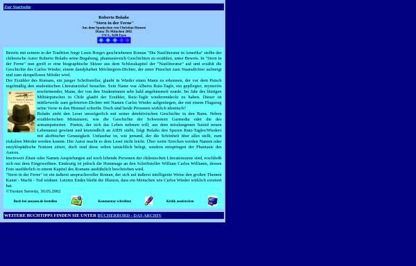 Vorschau von www.fragmentum.de, Roberto Bolano: Stern in der Ferne