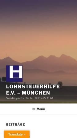 Vorschau der mobilen Webseite www.lohnsteuerhilfe-ev.net, Lohnsteuerhilfe e.V. - Seit 1972 am Münchner Marienplatz