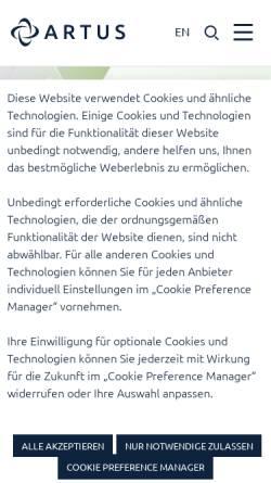 Vorschau der mobilen Webseite www.artus.at, ARTUS Consulting service unlimited