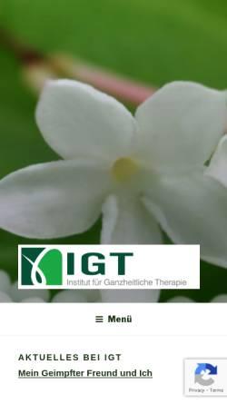 Vorschau der mobilen Webseite www.i-g-t.com, IGT-Institut für Ganzheitliche Therapie