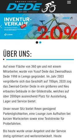 Vorschau der mobilen Webseite www.dede-lemgo.de, Zweiradhaus Dede