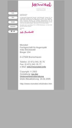 Vorschau der mobilen Webseite www.monokel.info, Monokel - Imke Breckwoldt