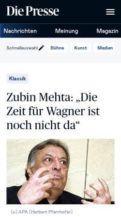 Vorschau der mobilen Webseite diepresse.com, Die Zeit für Wagner ist noch nicht da